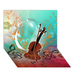 Violin With Violin Bow And Key Notes Circle 3D Greeting Card (7x5)