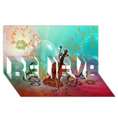 Violin With Violin Bow And Key Notes Believe 3d Greeting Card (8x4)