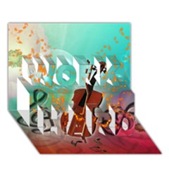 Violin With Violin Bow And Key Notes WORK HARD 3D Greeting Card (7x5)