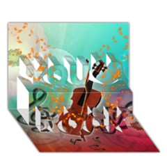 Violin With Violin Bow And Key Notes You Rock 3D Greeting Card (7x5)