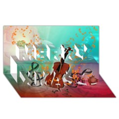Violin With Violin Bow And Key Notes Merry Xmas 3D Greeting Card (8x4)