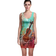Violin With Violin Bow And Key Notes Bodycon Dresses