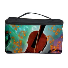 Violin With Violin Bow And Key Notes Cosmetic Storage Cases