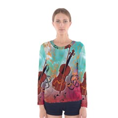 Violin With Violin Bow And Key Notes Women s Long Sleeve T Shirts
