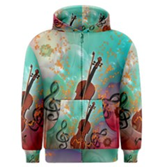 Violin With Violin Bow And Key Notes Men s Zipper Hoodies