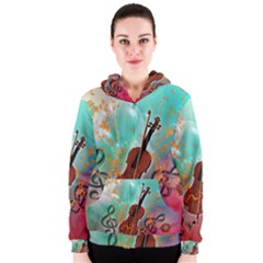 Violin With Violin Bow And Key Notes Women s Zipper Hoodies