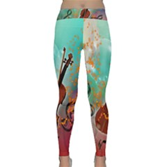 Violin With Violin Bow And Key Notes Yoga Leggings