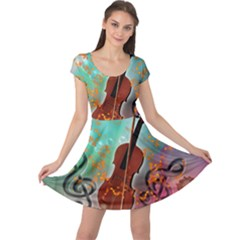 Violin With Violin Bow And Key Notes Cap Sleeve Dresses