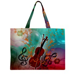 Violin With Violin Bow And Key Notes Zipper Tiny Tote Bags