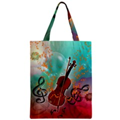 Violin With Violin Bow And Key Notes Zipper Classic Tote Bags