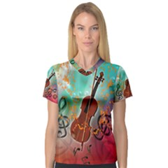 Violin With Violin Bow And Key Notes Women s V-Neck Sport Mesh Tee