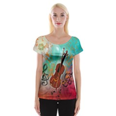Violin With Violin Bow And Key Notes Women s Cap Sleeve Top