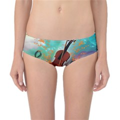 Violin With Violin Bow And Key Notes Classic Bikini Bottoms