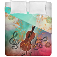 Violin With Violin Bow And Key Notes Duvet Cover (double Size)