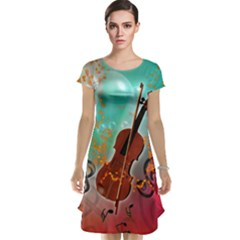 Violin With Violin Bow And Key Notes Cap Sleeve Nightdresses