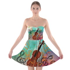 Violin With Violin Bow And Key Notes Strapless Bra Top Dress