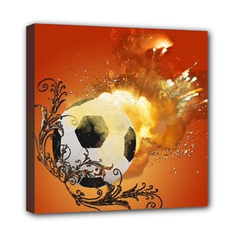 Soccer With Fire And Flame And Floral Elelements Mini Canvas 8  x 8