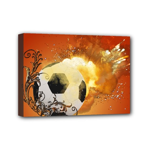 Soccer With Fire And Flame And Floral Elelements Mini Canvas 7  x 5