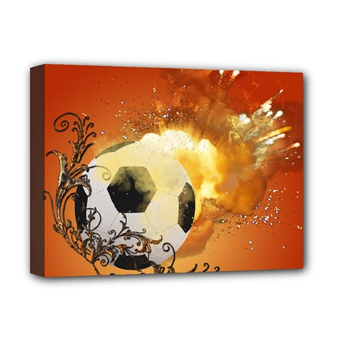 Soccer With Fire And Flame And Floral Elelements Deluxe Canvas 16  x 12
