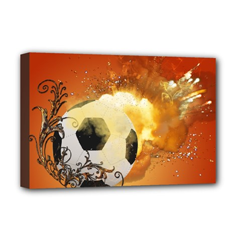Soccer With Fire And Flame And Floral Elelements Deluxe Canvas 18  x 12