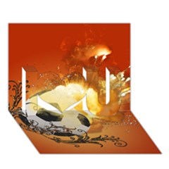 Soccer With Fire And Flame And Floral Elelements I Love You 3D Greeting Card (7x5)
