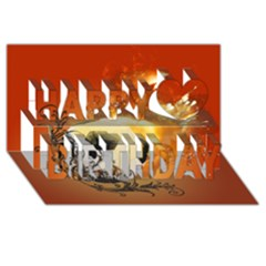 Soccer With Fire And Flame And Floral Elelements Happy Birthday 3d Greeting Card (8x4)