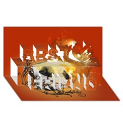 Soccer With Fire And Flame And Floral Elelements Best Friends 3D Greeting Card (8x4)
