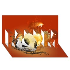 Soccer With Fire And Flame And Floral Elelements MOM 3D Greeting Card (8x4)