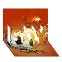 Soccer With Fire And Flame And Floral Elelements BOY 3D Greeting Card (7x5)