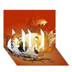 Soccer With Fire And Flame And Floral Elelements Girl 3d Greeting Card (7x5)