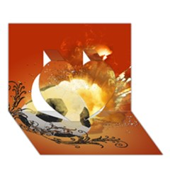 Soccer With Fire And Flame And Floral Elelements Heart 3D Greeting Card (7x5)