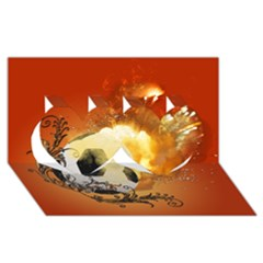 Soccer With Fire And Flame And Floral Elelements Twin Hearts 3d Greeting Card (8x4)