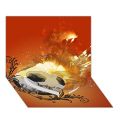 Soccer With Fire And Flame And Floral Elelements Heart Bottom 3D Greeting Card (7x5)