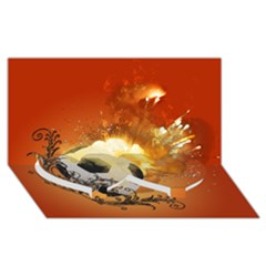 Soccer With Fire And Flame And Floral Elelements Twin Heart Bottom 3D Greeting Card (8x4)