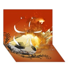 Soccer With Fire And Flame And Floral Elelements Clover 3D Greeting Card (7x5)