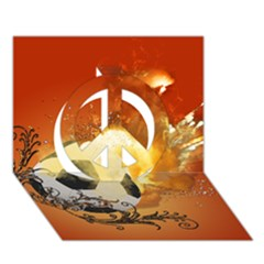 Soccer With Fire And Flame And Floral Elelements Peace Sign 3D Greeting Card (7x5)