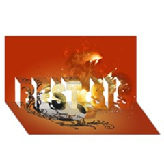 Soccer With Fire And Flame And Floral Elelements BEST SIS 3D Greeting Card (8x4)