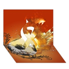 Soccer With Fire And Flame And Floral Elelements Ribbon 3D Greeting Card (7x5)