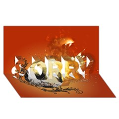 Soccer With Fire And Flame And Floral Elelements Sorry 3d Greeting Card (8x4)