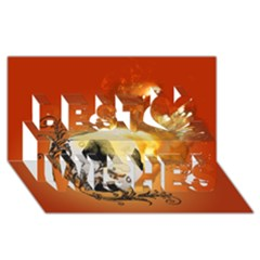 Soccer With Fire And Flame And Floral Elelements Best Wish 3d Greeting Card (8x4)