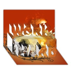 Soccer With Fire And Flame And Floral Elelements Work Hard 3d Greeting Card (7x5)