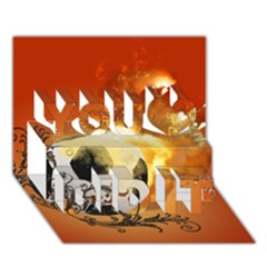 Soccer With Fire And Flame And Floral Elelements You Did It 3D Greeting Card (7x5)