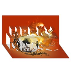Soccer With Fire And Flame And Floral Elelements Merry Xmas 3d Greeting Card (8x4)