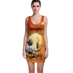 Soccer With Fire And Flame And Floral Elelements Bodycon Dresses