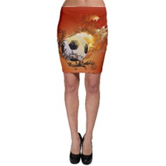 Soccer With Fire And Flame And Floral Elelements Bodycon Skirts