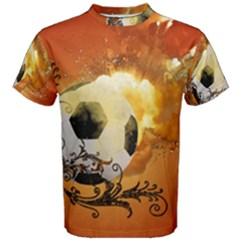 Soccer With Fire And Flame And Floral Elelements Men s Cotton Tees