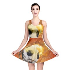 Soccer With Fire And Flame And Floral Elelements Reversible Skater Dresses