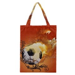 Soccer With Fire And Flame And Floral Elelements Classic Tote Bags