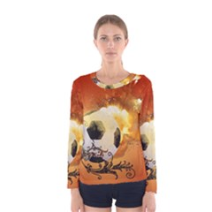Soccer With Fire And Flame And Floral Elelements Women s Long Sleeve T Shirts