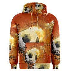 Soccer With Fire And Flame And Floral Elelements Men s Pullover Hoodies